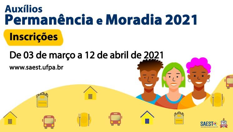 Inscrições abertas para auxílios Permanência e Moradia 2021